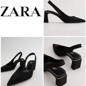 NWT. Zara Black Slingback Heels. Size 8M.